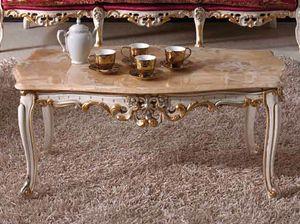 Baroque table basse, Table basse classique sculptée, avec dessus en marbre