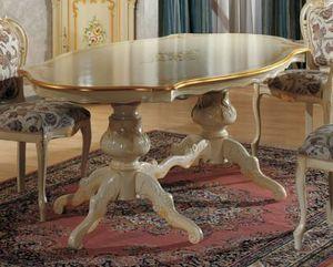 Brianza table en forme, Table classique, avec peinture décorative
