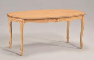 BRIANZOLO ovales table à café 8075T, Table basse ovale en hêtre, pour la zone de conversation
