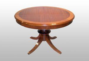 Burke, Table ronde classique extensible, acajou plaqué