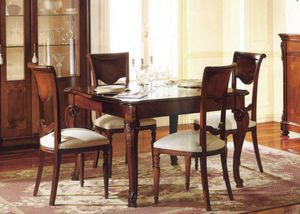 Canova table carrée, Carré extensible table, marqueterie et poli