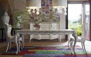 Carpi table, Table classique, finition blanc et argent