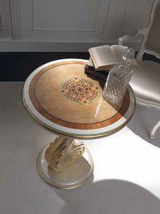 Chiocciola petite table, Table basse avec détails en feuille d'or