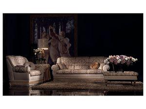 Cinzia table basse, Table basse avec les jambes décorées, pour le bureau classique