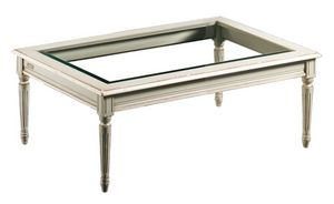Clemente FA.0127, Table basse rectangulaire, plateau en verre, style antique