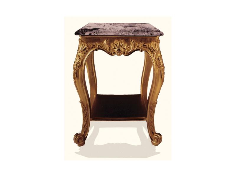 Coffe Table art. 306, Table basse en bois avec plateau en marbre noir