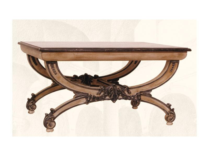Coffe Table art. 308, Table basse avec plateau en bois sculpté à la main