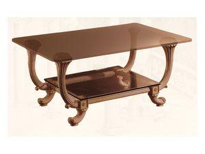 Coffe Table art. 311, Classique petite table de style, avec deux étagères en verre
