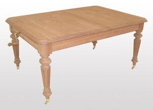 Collins, Table rectangulaire extensible classique, pieds tournés