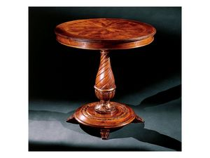 Complements side table 753, Table d'appoint ronde en bois sculpté