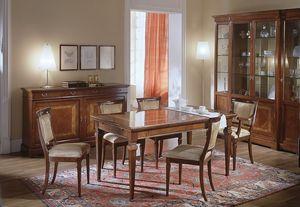 D 303, Table extensible en bois de cerisier, avec incrustation florale
