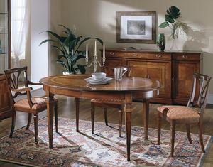 D 306, Table ovale en bois de cerisier, extensible, luxe classique