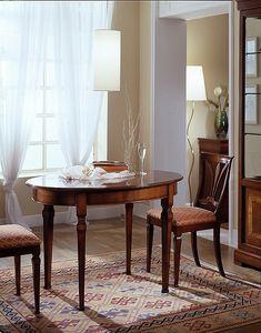 D 308, Table ovale, en bois de cerisier, extensible, avec dessus lisse