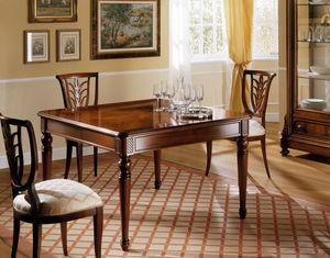 D'Este table, Table extensible dans un style classique, des sculptures faites à la main
