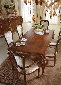 Donatello table, Precious table en bois, décorations appliquées à la main par des maîtres artisans, pour la salle à manger