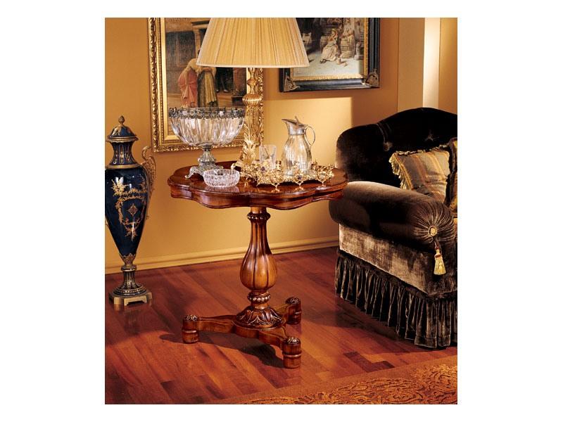 Elena side table 752, Petite table avec structure en bois sculpté