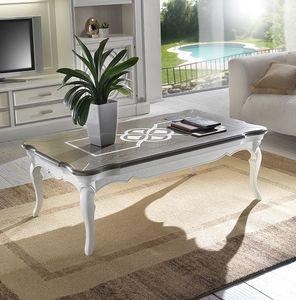F 503, Table basse en bois de frêne, rectangulaire, deux couleurs top