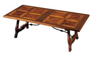 Fiesole ME.0891.2.F, Table en noyer avec les jambes en forme de lyre, pour salons