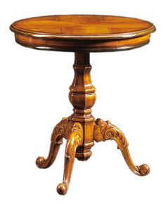 Filiberto FA.0115, Table basse ronde en bois faits à la main, stile baroque