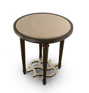 FLORA / table d'appoint avec plateau miroir rond en bronze, Table d'appoint ronde élégante