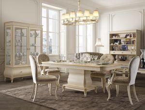 Florentia table, Table à manger en bois pour mobilier classique