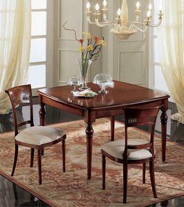 Gardenia table carrée, Table carrée Extensible, classique, en noyer massif