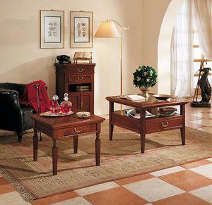 Giotto table basse, Table basse avec plateau en verre, avec 4 tiroirs