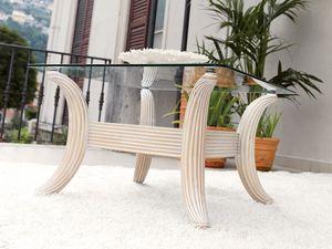 Ikarus Tableau, Table basse contemporaine en verre et bois