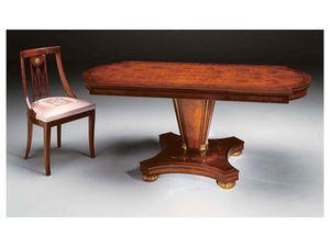IMPERO / table de salle à manger avec pied B, Table à manger en bois de frêne, de style classique