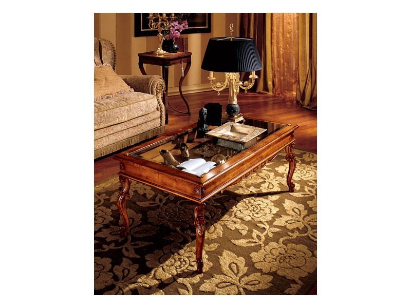 Katerina coffee table 716, Table basse en bois avec plateau en verre, style classique