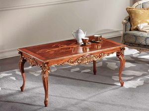 Lawrence table basse, Table basse avec des sculptures de feuilles d'or.