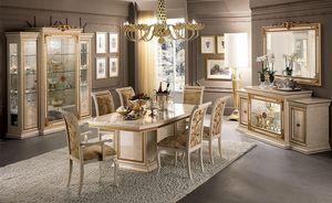 Leonardo salle à manger, Le luxe classique de salle à manger, avec table, chaises et vitrine