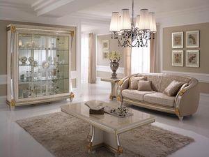 Liberty table basse, Table basse pour salon, en bois décorée à la main, pour l'ameublement de luxe