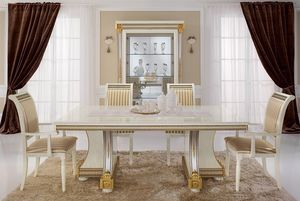 Liberty table, Tables à manger, des produits de luxe fabriqués en Italie, en bois sculpté à la main
