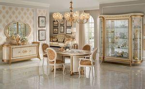 Melodia sala da pranzo, Salle à manger dans un style classique, avec des vitrines, buffet, table et chaises