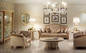 Melodia table basse, Table basse de salon classiques, plateau ovale, bois précieux