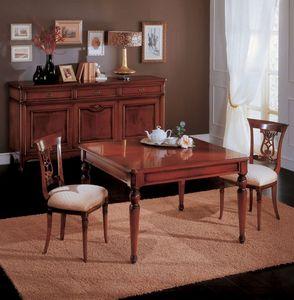 Opera table, Table à manger extensible en bois, style classique