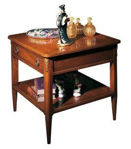 Orleans VS.5026, Table carrée de café en noyer, avec 1 tiroir et 1 tablette, pour les salles de séjour dans un style classique