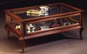 Oxford Art.509 Table vitrine, Table basse classique pour la salle centrale avec vitrine, en noyer