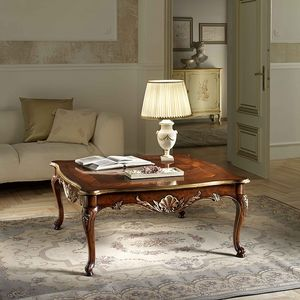 P 501, Table basse carr�e en noyer, sculpt�, d�tails de feuilles d'or