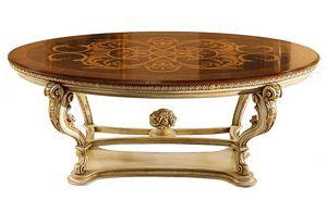 Pumpkin LU.0676.A, Table ovale avec plateau en marqueterie et la base sculpté, pour les salles de vie dans un style classique