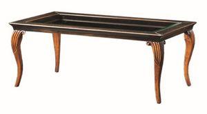 Raffaello FA.0134, Table Decò basse en bois, plateau en verre, style classique