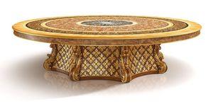 S01 table ronde, Luxe tableau classique avec Lazy Susan, avec des incrustations de bois de bruyère, sculpté à la main