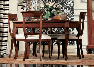 Settecento tavolo quadrato, Table extensible en noyer, avec de l'artisanat