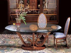 T482 Le volutetable, Table ovale en bois avec plateau en verre