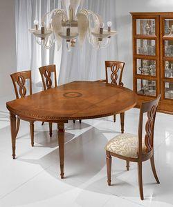 T492 I Capitelli table, Table extensible dans un style classique, en bois massif