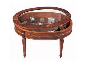 T596 table basse, Table basse classique, avec vitrine, bois incrustés