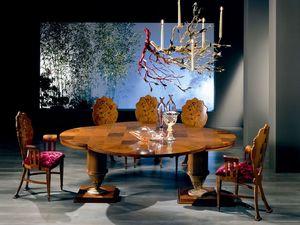TA32 Quadrifoglio table, Table en bois extensible, avec une forme de trèfle à quatre feuilles