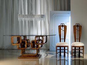 TA34 Glamour, Table ovale, plateau en verre, base anneaux en bois