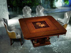 TA50 Class table, Table en bois avec des décorations précieuses, pour Hôtel de luxe